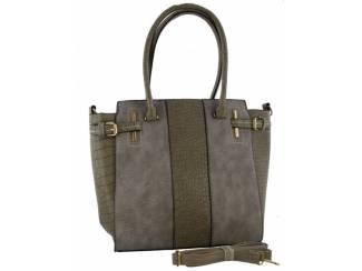 Grijze met groene handtas van het merk brakelenzo nu 29,99