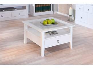 ACTIE Brocante vierkante salontafel Provence mat wit NIEUW