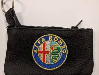 Echt leder borduurwerk sleutelhoesje met logo Alfa Romeo