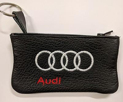 Echt leder borduurwerk sleutelhoesje met logo AUDI