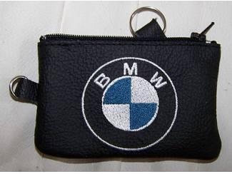 Echt leder borduurwerk sleutelhoesje met logo BMW