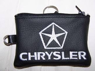 Echt leder borduurwerk sleutelhoesje met logo CHRYSLER