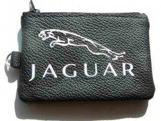 Echt leder borduurwerk sleutelhoesje met logo JAGUAR