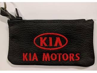 Echt leder borduurwerk sleutelhoesje met logo KIA