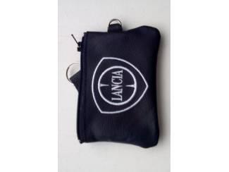 Echt leder borduurwerk sleutelhoesje met logo LANCIA