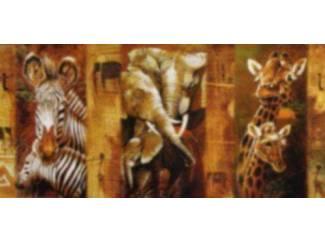 Schilderij Olifant Giraffe Zebra Safari