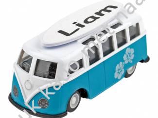 Overige Verzamelen verjaardagscadeau  blauw model surf busje met naam
