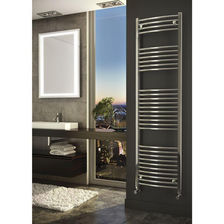 Sanifun handdoek radiator Medina Gebogen 160 x 60 Chroom.