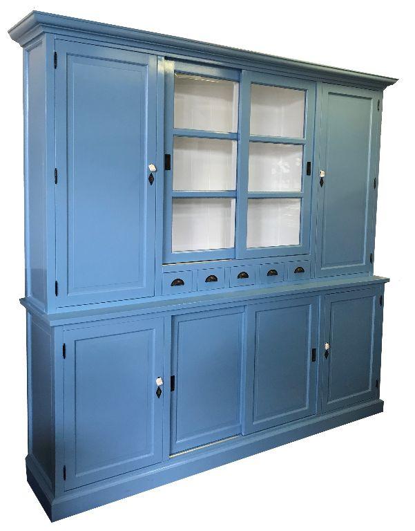 Landelijke buffetkast oud blauw 240cm dichte zijdeuren