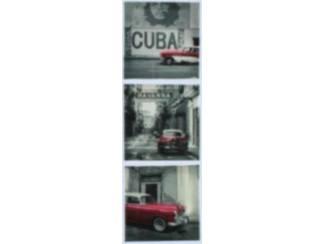 Canvas Schilderij Oldtimers Cuba Che Guevara Set van 3