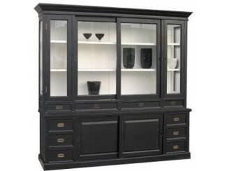 Zwarte vitrinekast 225cm breed binnenkant wit