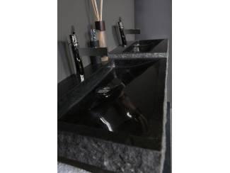 Palermo Wastafel Zwart Graniet Gekapt met één kraangat 60 cm.