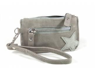 Kleine zak portemonnee met ster- licht grijs