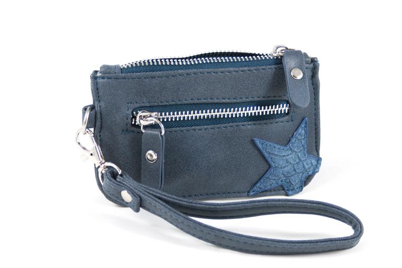 Kleine zak portemonnee met ster- blauw