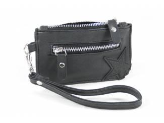 Kleine zak portemonnee met ster- zwart