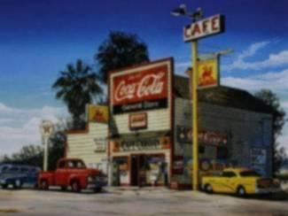 Poster Route 66 Oldtimer Market Hamburger Pepsi