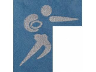 Sporthanddoek met geborduurde applicatie rugby