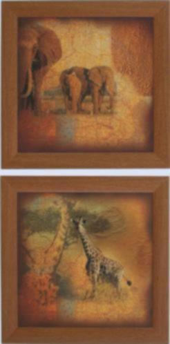 Schilderij Safari Olifant Giraffe Tweeluik
