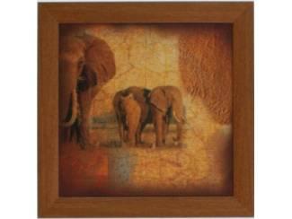 Accessoires en Decoratie Schilderij Safari Olifant Giraffe Tweeluik