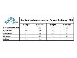 Badkamer Sanifun badkamermeubel Palace Andersen 60.