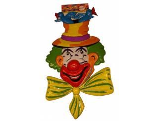 """Decoratie """" Clowns hoofd met vogels """""""
