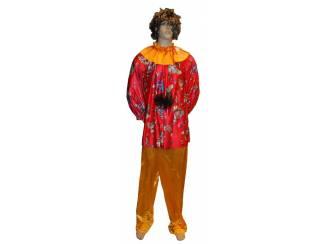 "Clowns kostuum "" Rood / oranje "", maten 40, 42 en 44."