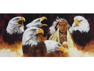 Schilderij Indiaan met Adelaars Adelaar Indianen
