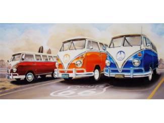 Schilderij Volkswagen Busjes Route 66