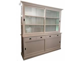 Buffetkast Bunnik wit 210cm breed zijkanten glas