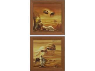 Schilderij Romantisch Arabisch Karavaan in Woestijn 2 luik