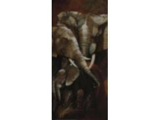 Tweeluik Schilderij Olifant met Jong Olifanten