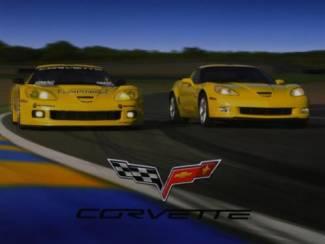 Poster Blauwe en Gele Corvette Corvettes Auto