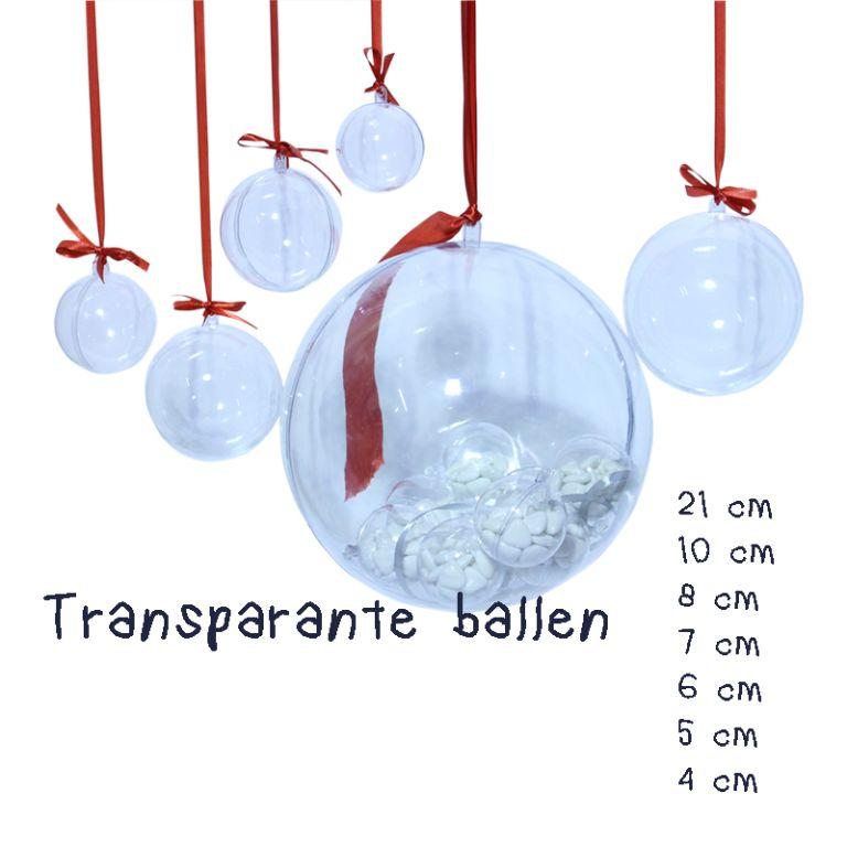 Transparante ballen in vele maten verkrijgbaar van 4 tot 21 cm