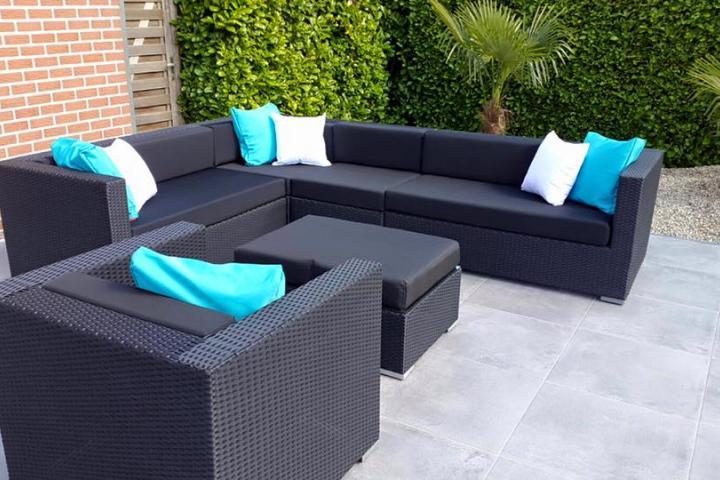 Loungeset lounche set terras tuin zwart wicker nieuw tuinmeubelen