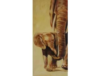 Schilderij Tweeluik Olifant met Jong Olifanten (AB)