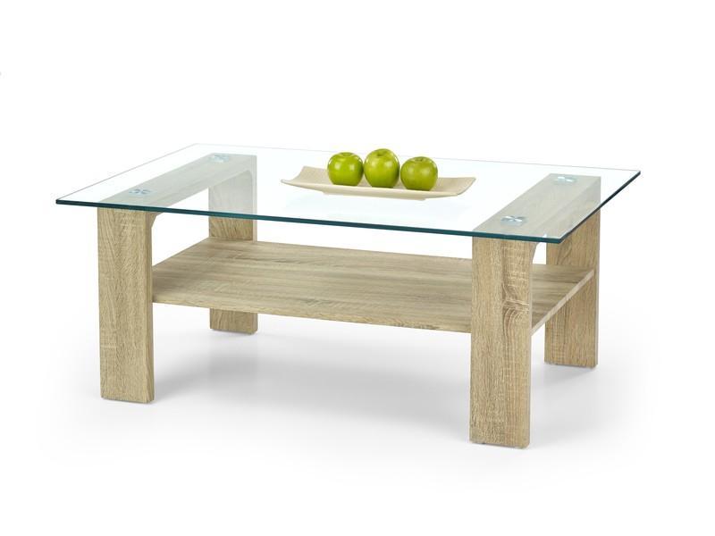 Aanbieding moderne eiken salontafel met glas nu 119 nieuw : tafels