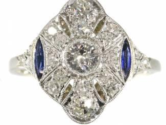 Diamanten Belle Epoque ring met sublieme saffier