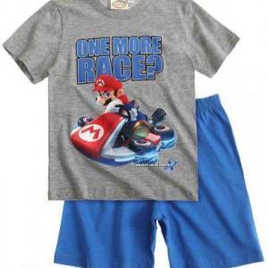Super Mario shortpyjama Grijs/Blauw (140/10 j)AANBIEDING!