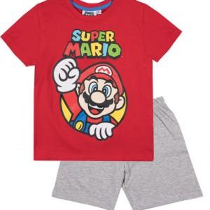 Super Mario Shortpyjama Rood/Grijs (134/9 jaar)