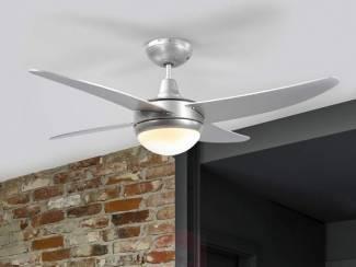 Moderne plafondventilator Finnley in grijs, verlichte onderzijde