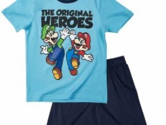 Super Mario Shortpyjama L. Blauw Heroes (140/10 j)AANBIEDING!
