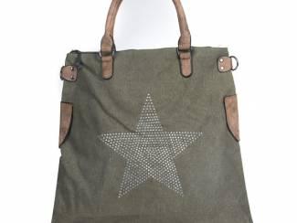 Final Sale groene canvas handtas van het merk brakelenzo nu 20,00