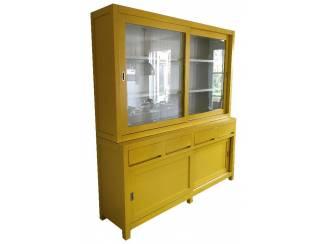 Winkelkast desing greeploos geel - wit 180cm breed