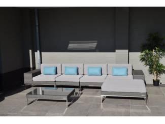 Loungeset lounche set terras tuin grijs plat wicker nieuw.