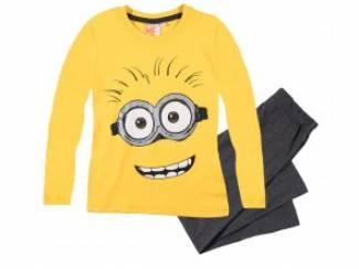 minions pyjama geel/d grijs smile 140/10 j aanbieding!