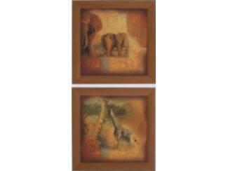 Tweeluik Schilderij Safari Olifant Giraffe