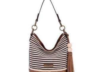 Zwart/Witte gestreepte handtas van het merk David Jones nu 29.99