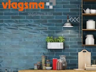 Zee Blauw, Aqua Blauw en Mosgroen 7,5x30 cm Handvorm Tegels Cifre