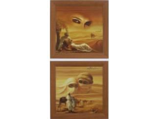 2 luik Schilderij Romantisch Arabisch Karavaan in Woestijn