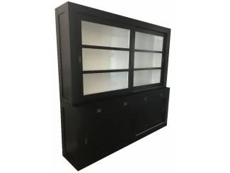 Winkelkast design Hasselt zwart - wit 220 x 20cm